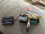 Components on breadboard with battery